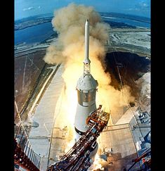 Straining against Earth's gravity, the powerful Saturn V rocket took off 45 years ago today (July 16) carrying the first astronauts that would set foot on the moon.