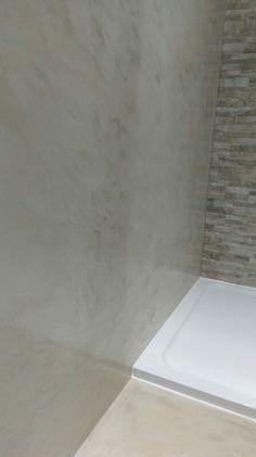 Microcement ensuite in travertino colour Domain Hosting, Tile Floor, Concrete, Flooring, Colour, Bathroom Sinks, Travertine, Color, Tile Flooring