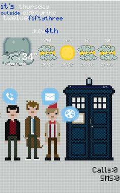 [Homepack Buzz] Check this awesome homescreen! Cris Obrien | doctor who my pixalated doctor who 9th 10th and 11th doctors and the mighty T.A.R.D.I.S app drawer like my last one is the tardis hope you guys like :) and FYI the battery indicator is on the top of the tardis ;) Cobrien.co@gmail.com