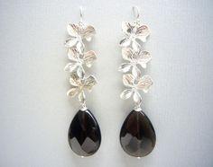 Blüten & Rauchquarz fac. 925 Silber Ohrhänger XL von SCHMUCK. by felicitas mayer auf DaWanda.com