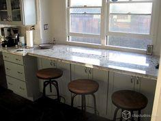 Breakfast bar under kitchen window