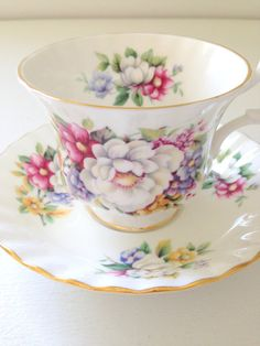 Vintage English Bone China Royal Albert Tea Cup and Saucer Summertime Series Sherborne Tea Party Cottage Style Replaceme