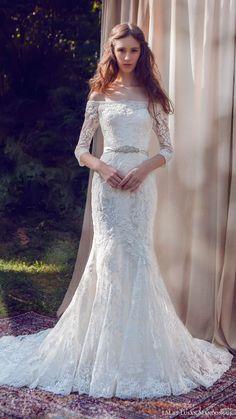 LM lusan mandongus bridal 2017 off shoulder illusion 3 quarter sleeves lace…