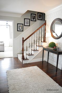 How to Stain an Oak Banister - The Idea Room Add white trim or wainscotting to staircase wall