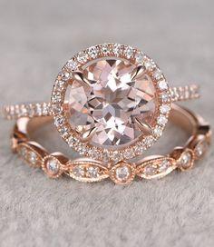 2pcs Morganite Bridal Ring Set,Engagement ring Rose gold,Diamond wedding band,14k,8mm Round Cut,Gemstone Promise Ring,Art Deco Eternity Band