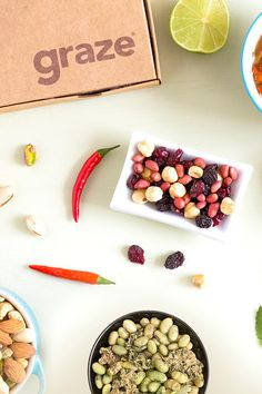 Find exciting ways to spice up your everyday meals or enjoy these snacks solo. Graze is a subscription box service of wholesome, delicious snacks delivered right to your door. Each box has perfectly portioned snacks tailored to your taste preferences and dietary requirements. With over 100 unique flavor combinations, we have good snacks everyone can feel excited about.  Sign-up and get your first box for free!