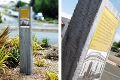 Heritage signage trail for Winchelsea Heritage Trail in the Surfcoast Shire in Victoria. Environmental Graphic Design, Environmental Graphics, Lanscape Design, Park Signage, Portal Design, Trail Signs, Wayfinding Signs, Outdoor Signage, Park Trails
