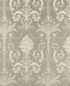 French Damask Gray Walpaper | Josette Pewter Wallpaper