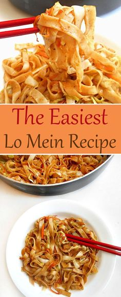 Easy Lo Mein - This is the easiest lo mein recipe you will ever make. It's much quicker, tastier and healthier than the restaurant version. Dinner recipes that will satisfy vegans, vegetarians and Om Vegetable Recipes, Vegetarian Recipes, Cooking Recipes, Healthy Recipes, Vegan Vegetarian, Hallumi Recipes, Hotdish Recipes, Lasagna Recipes, Vegetarian