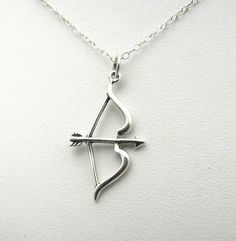 Bow Arrow Necklace Sterling Silver Charm Jewelry Archery Archer Inspired Sagittarius on Etsy, $33.00