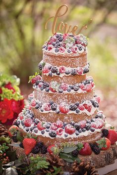 """Berry Wedding Cake I like the idea of a """"naked"""" cake look. Plus the berries add flavor without all that additional sugary frosting"""