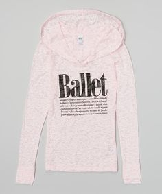 Pink 'Ballet' Hooded Shirt for Girls
