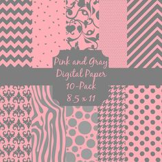 Pink and Gray Digital Paper 10 Pack / 8.5 x by ScrappedPageDesigns