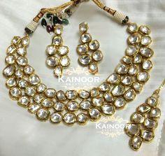 Gorgeous 3 strand uncut kundan polki set by Kainoor Kreations. Love the timeless feel and elegance of kundan.