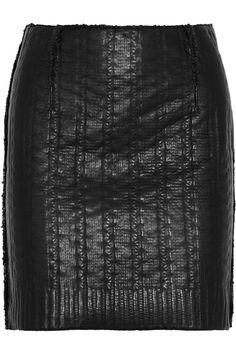 Lanvin|Knit-effect leather mini skirt|NET-A-PORTER.COM