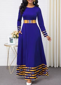 Party Dresses For Women Rainbow Stripe Round Neck Long Sleeve Maxi Dress Long African Dresses, Latest African Fashion Dresses, Women's Fashion Dresses, Dress Outfits, Trendy Dresses, Fashion Clothes, Sexy Dresses, Blue Dresses, Casual Dresses