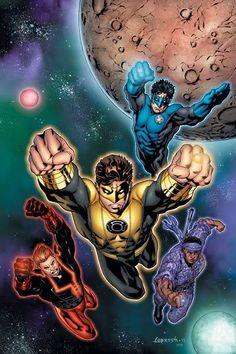 Hal Jordan-Sinestro Corps. Guy Gardner-Red Lantern Corps. John Stewart-Indigo Tribe Kyle Rayner-Blue Lantern Corps.