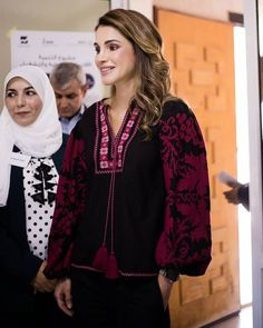 22 June 2017 - Queen Rania visits the JAHD in Jerash - blouse by Talitha Salma, shoes by Jimmy Choo