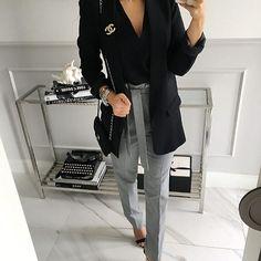 #...be a woman #set - Mint Label #top #black #jacket #pants #gray #ootd #stylish #look #instamood #instagram #fashion #instamood #mood #style #shopping