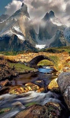 Mountain stream in Torres del Paine Chile