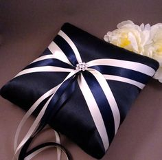 Fifth Avenue Ring Bearer Pillow in Navy, White and Navy  - Pick Your Own Color