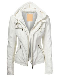 Lock and Love Women's Removable Hoodie Motorcyle Jacket XS WHITE
