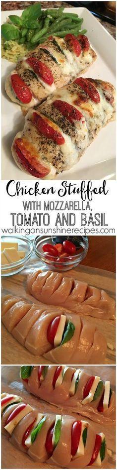 Huhn gefüllt mit Mozzarella, Tomaten und Basilikum Rezept: