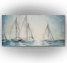 Sailboats with tall, white sails, nautical life by Nizamas cool color palette knife texture painting Ship Paintings, Your Paintings, Original Paintings, Oil Painting Texture, Texture Art, Star Painting, Oil Painting On Canvas, Art Blanc, Cool Color Palette