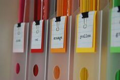 Organization Use Binder Clips To Label and Organize Paper--cute idea for scrapbook paper, not for colors but by themes.Use Binder Clips To Label and Organize Paper--cute idea for scrapbook paper, not for colors but by themes. Scrapbook Paper Storage, Craft Paper Storage, Scrapbook Organization, Craft Organization, Diy Storage, Storage Ideas, Storage Solutions, Scrapbook Rooms, Organizing Life