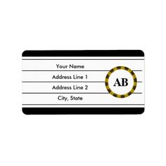 Black monogram design personalized address labels