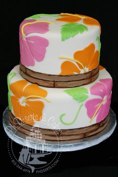 hawaiian cake images | We covered the cake in a slightly ivory fondant, made an edible bamboo ...