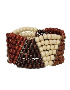Triangle Wood Beads Cuff