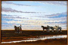 Ensillando al amanecer. Oleo sobre lienzo. 40 x 60cm. 2006