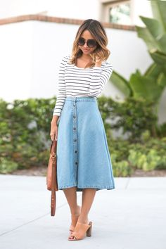 DENIM MIDI SKIRT[[MORE]]  DETAILSPhotography – Jason HuangDenim Midi Skirt – Morning Lavender find darker version HERE, Top – Nordstrom, Sunglasses – Nordstrom, Tote – Madewell, Shoes – Vince Camuto. Find similar HERE, HERE and HERE, Brown Reversible Tote – Morning Lavender  Fashion By Lace And Locks