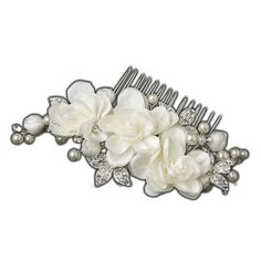 Floral Flower Hair Accent Simulated Pearl and Rhinestone Wedding Bridal Tiara Hair Clip ** Want to know more, click on the image.