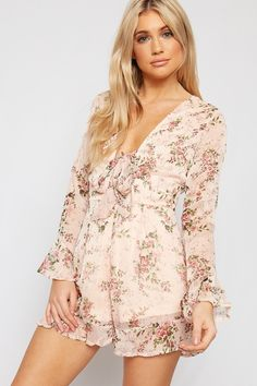 520274e0fe Chloe Chiffon Long Sleeve Floral Tied Front Playsuit