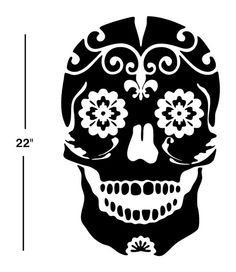 Sugar Skull Decal sticker wall art day of the dead dia de los muertos car graphics room decor emo goth gothic metal AA09.22