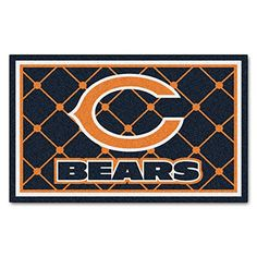 FANMATS NFL Chicago Bears Nylon Face 4X6 Plush Rug ** Click on the image for additional details.
