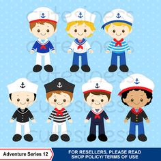 Nautical Clipart Sailor Clipart Navy Clipart Ship por Cutesiness