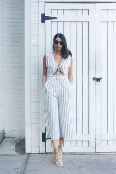 stripe culotte jumpsuit, easy summer style