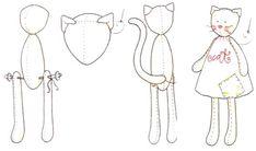 Fabric Doll Pattern, Plush Pattern, Cat Pattern, Sewing Case, Sewing Toys, Sewing Stuffed Animals, Stuffed Animal Patterns, Doll Crafts, Baby Crafts