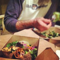 After a long day of working, driving, and teaching, Brian and I decided to order in some #delicious #vegan #wraps from Good Karma :) #organic #plantbased #goodness on a #friday #night with #mylove <3333 what could be better!?!?