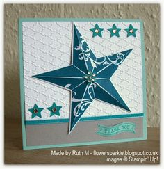 Flower Sparkle: Two Star Thank You Cards