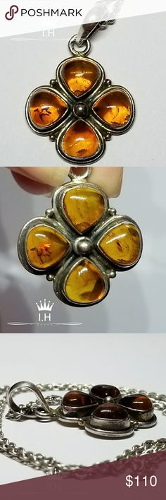 Vintage Amber Pendent Sterling Vintage Amber Pendent Sterling Used Estate Item  See pictures for size  Pictures don't do justice  Needs polishing  925 stamped pendant And 925 chain. Jewelry Necklaces