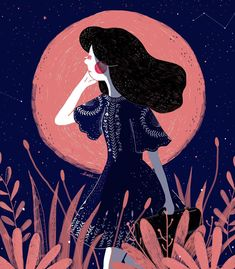 """The Girl & The Moon (2/3) ✨ #illustrationoftheday #doodle #starrynights"""