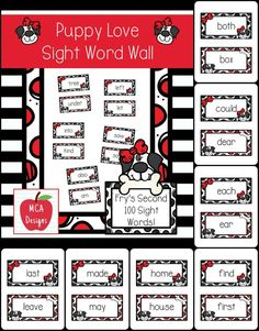 My Puppy Love sight word wall posters feature Fry's second 100 words. 55 pages of sight words accented with bright colors and sweet Dalmatian puppy graphics!  #mca3designs #tpt #teacherspayteachers #sightwords #wordwall