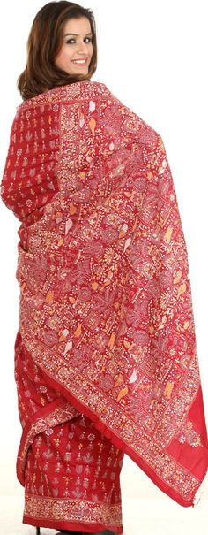 Burgundy Kantha Sari with Hand-Embroidered Figures Inspired by Warli Art