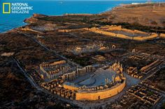 "Leptis Magna - Libya.Image in National Geographic ""Ancient Rome In Libya: A Suppressed History Resurfaces After Revolution"" Feb. 2013. George Steinmetz photo. Among the world's largest, best preserved ancient Roman cities, the city flourished under Emperor Septimius Severus, who was born here. A vast theater, forum, and market became part of an urban center to rival Rome."