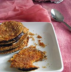 Baked-Eggplant-crispy-method. Oh no! This was not good. Way too much chili powder in mixture 1 and not enough cooking time. Also, make sure the eggplant is room temperature before cutting and stacking it.