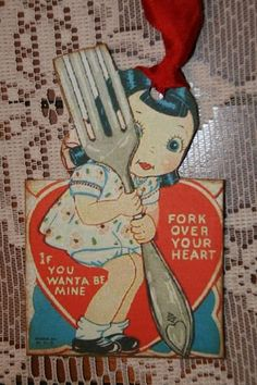 Fork Over Your Heart Valentine!  Vintage Valentine Tags or Cards